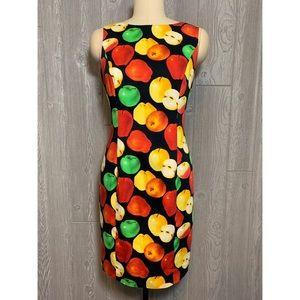 Escada Vintage Apple Print Cotton Sheath Dress 38